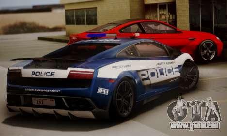 Lamborghini Gallardo LP 570-4 2011 Police v2 für GTA San Andreas zurück linke Ansicht