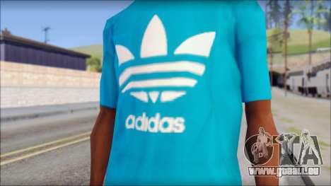 Blue Adidas Shirt pour GTA San Andreas troisième écran