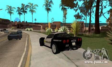 Chevrolet Corvette Z06 Los Santos Sheriff Dept pour GTA San Andreas sur la vue arrière gauche