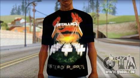 Metallica Master Of Puppets T-Shirt pour GTA San Andreas troisième écran