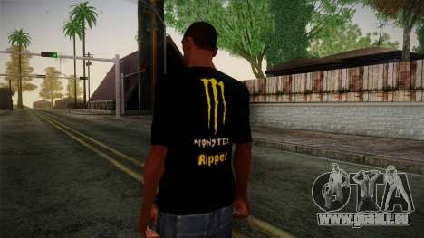 Monster Energy Shirt Black für GTA San Andreas zweiten Screenshot