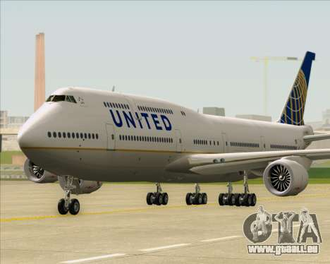 Boeing 747-8 Intercontinental United Airlines für GTA San Andreas zurück linke Ansicht