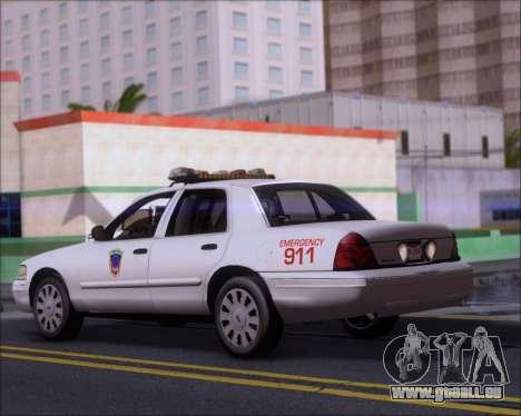 Ford Crown Victoria Tallmadge Battalion Chief 2 pour GTA San Andreas sur la vue arrière gauche