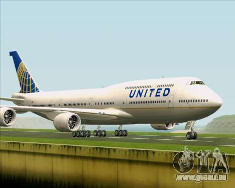 Boeing 747-8 Intercontinental United Airlines für GTA San Andreas linke Ansicht