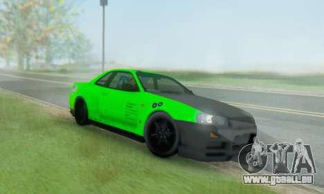 Nissan Skyline GT-R 34 für GTA San Andreas Rückansicht