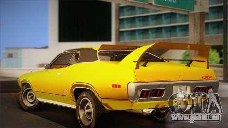 Plymouth GTX Tuned 1972 v2.3 für GTA San Andreas zurück linke Ansicht