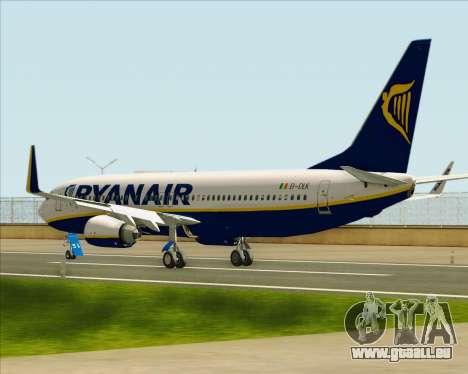 Boeing 737-8AS Ryanair pour GTA San Andreas sur la vue arrière gauche