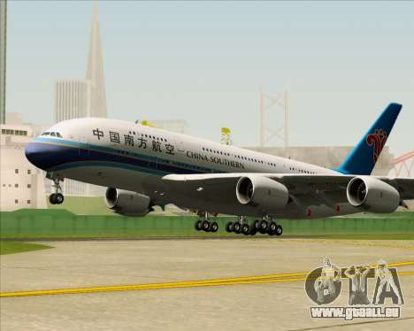 Airbus A380-841 China Southern Airlines pour GTA San Andreas vue arrière