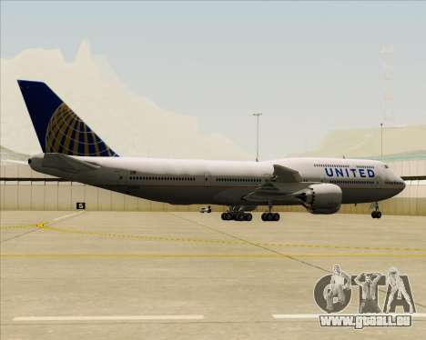 Boeing 747-8 Intercontinental United Airlines für GTA San Andreas Rückansicht