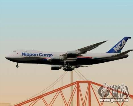 Boeing 747-8 Cargo Nippon Cargo Airlines pour GTA San Andreas sur la vue arrière gauche