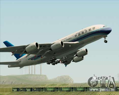 Airbus A380-841 China Southern Airlines für GTA San Andreas Unteransicht