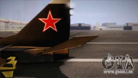 MIG 29 Russian Air Force From Ace Combat für GTA San Andreas zurück linke Ansicht