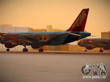 Airbus A320-214 TAM Airlines RIO pour GTA San Andreas sur la vue arrière gauche