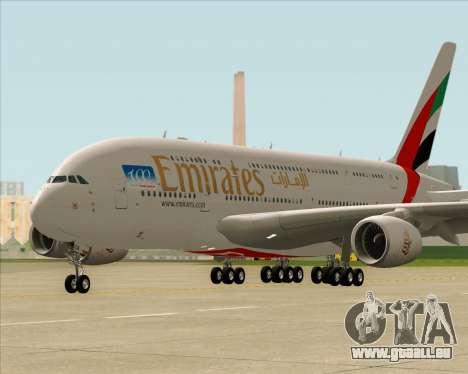 Airbus A380-841 Emirates für GTA San Andreas linke Ansicht