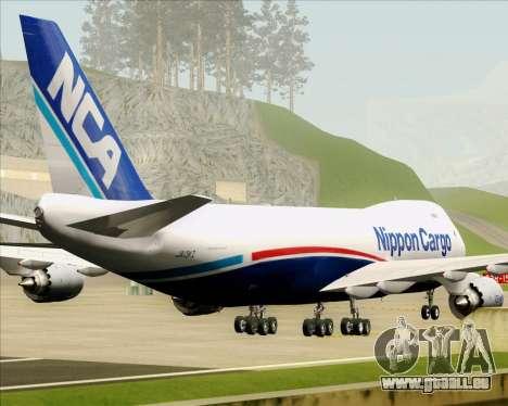 Boeing 747-8 Cargo Nippon Cargo Airlines pour GTA San Andreas vue de dessous