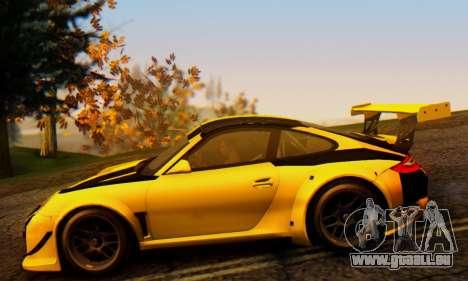 Porsche 911 GT3 R 2009 Black Yellow für GTA San Andreas Rückansicht