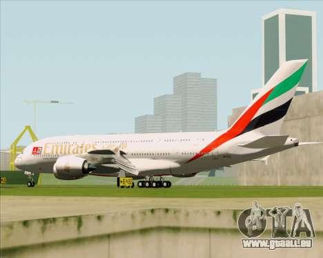 Airbus A380-841 Emirates für GTA San Andreas Rückansicht