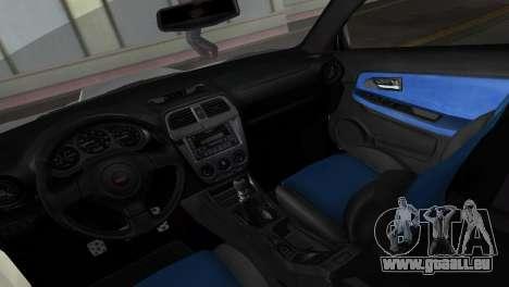 Subaru Impreza WRX STI 2006 Type 1 pour une vue GTA Vice City de l'intérieur