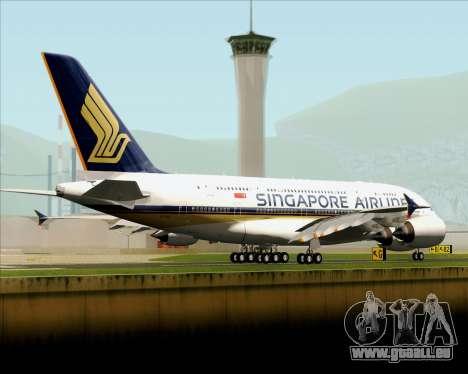 Airbus A380-841 Singapore Airlines für GTA San Andreas zurück linke Ansicht