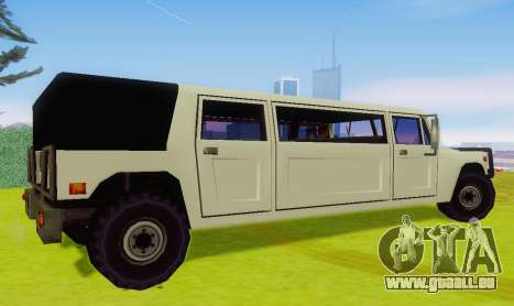 Patriot Limousine pour GTA San Andreas sur la vue arrière gauche