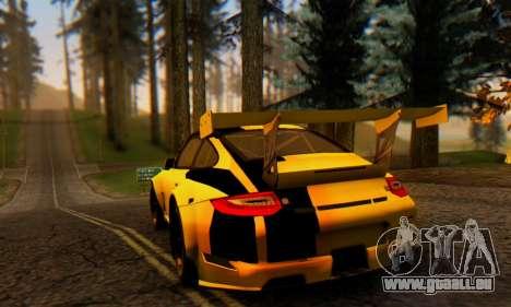 Porsche 911 GT3 R 2009 Black Yellow für GTA San Andreas rechten Ansicht