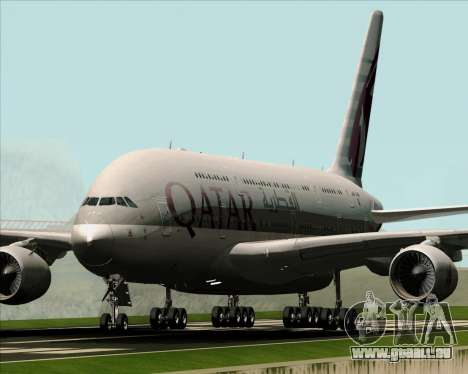Airbus A380-861 Qatar Airways für GTA San Andreas linke Ansicht