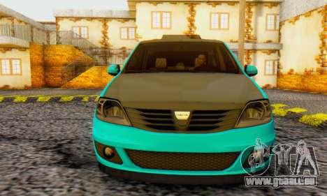 Dacia Logan Pearl Blue pour GTA San Andreas laissé vue