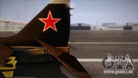 MIG 29 Russian Air Force From Ace Combat für GTA San Andreas rechten Ansicht