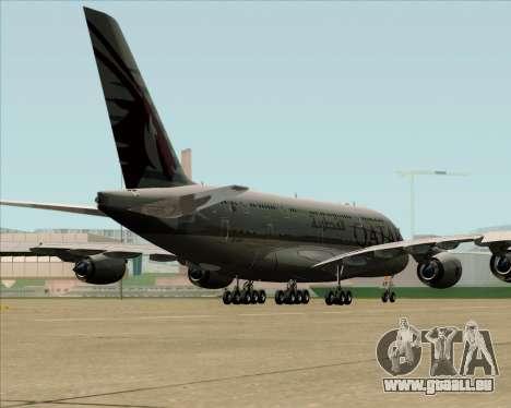Airbus A380-861 Qatar Airways pour GTA San Andreas sur la vue arrière gauche