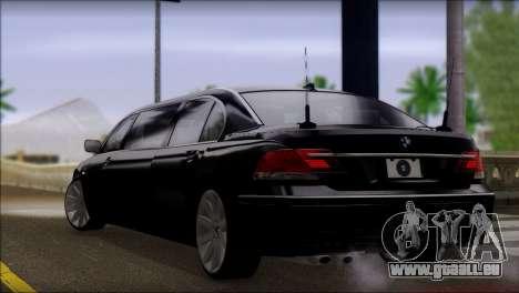 BMW E66 7-Series Limousine pour GTA San Andreas laissé vue