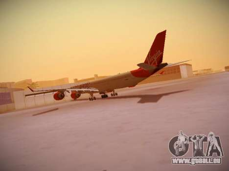 Airbus A340-600 Virgin Atlantic New Livery für GTA San Andreas zurück linke Ansicht