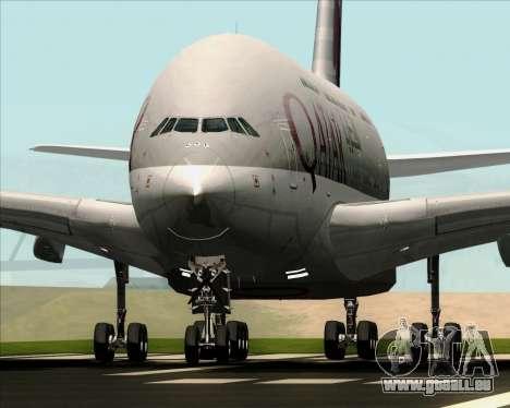 Airbus A380-861 Qatar Airways für GTA San Andreas Rückansicht