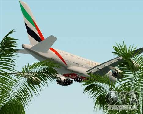 Airbus A380-841 Emirates für GTA San Andreas Unteransicht