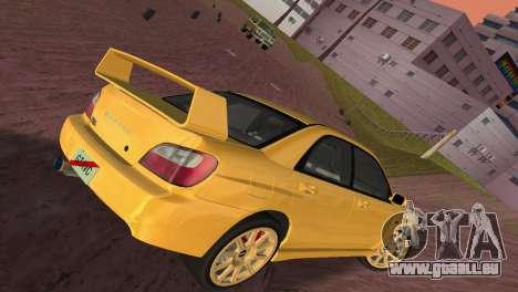Subaru Impreza WRX 2002 Type 1 pour une vue GTA Vice City de l'intérieur