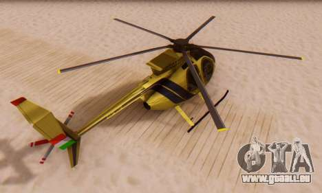 Le MD500E hélicoptère v2 pour GTA San Andreas vue de droite