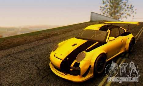Porsche 911 GT3 R 2009 Black Yellow für GTA San Andreas linke Ansicht