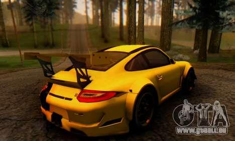 Porsche 911 GT3 R 2009 Black Yellow für GTA San Andreas zurück linke Ansicht