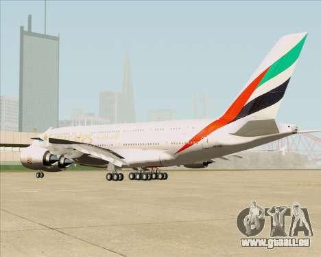Airbus A380-841 Emirates für GTA San Andreas zurück linke Ansicht