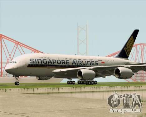 Airbus A380-841 Singapore Airlines für GTA San Andreas Rückansicht