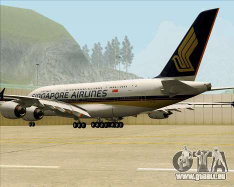 Airbus A380-841 Singapore Airlines für GTA San Andreas rechten Ansicht