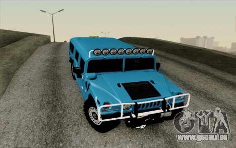 Hummer H1 Alpha 2006 Road version für GTA San Andreas Innenansicht