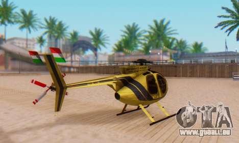 Le MD500E hélicoptère v2 pour GTA San Andreas sur la vue arrière gauche