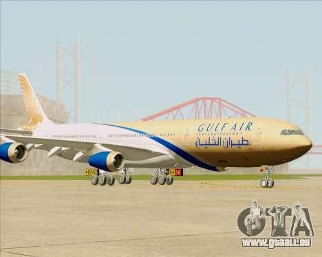 Airbus A340-313 Gulf Air pour GTA San Andreas sur la vue arrière gauche