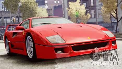 Ferrari F40 1987 pour GTA 4 Vue arrière de la gauche