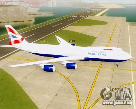 Boeing 747-8 Cargo British Airways World Cargo pour GTA San Andreas sur la vue arrière gauche