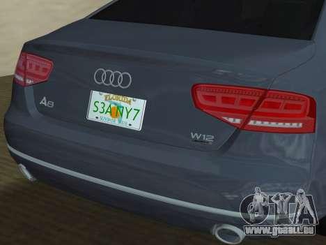 Audi A8 2010 W12 Rim3 pour le moteur GTA Vice City