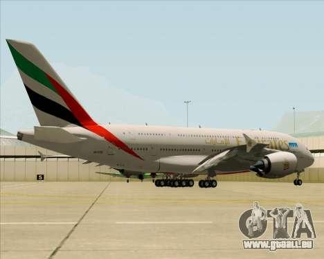 Airbus A380-841 Emirates für GTA San Andreas rechten Ansicht