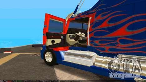 Peterbilt 379 Optimus Prime pour GTA San Andreas sur la vue arrière gauche