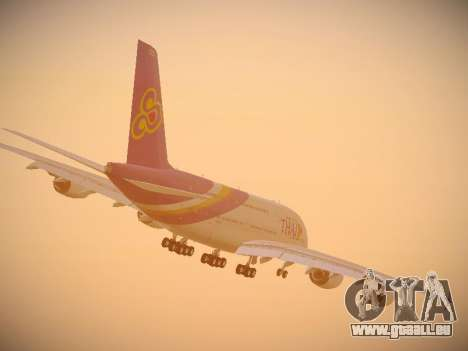 Airbus A380-800 Thai Airways International für GTA San Andreas obere Ansicht