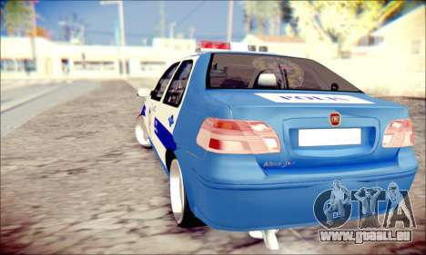 Fiat Albea Police Turkish pour GTA San Andreas sur la vue arrière gauche